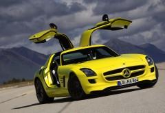 Mercedes-Benz, желтый, SLS, AMG, E-Cell, купе, автомобиль, фоны, заста�…
