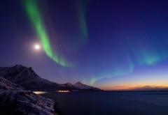 Норвегия, Северное сияние, ночь, горные картинки, пейза…