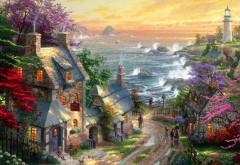 Томас Кинкейд, деревня маяк, красивые пейзажи широкоэк…