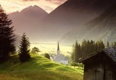 Церковь в деревне живописные леса на рабочий стол горн…