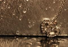 Кулон, романтический дождь, любовь, сердце, обои hd, фоны
