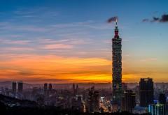 Китай, Тайвань, Тайбэй, башня, вид сверху, фоны, заставк�…