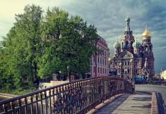 Санкт-Петербург, Россия, храм, Спаса-на-Крови, купол, мост, облака, картинки, обои