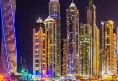 Дубай, город, небоскребы, здания, ночь, огни, красочный, …