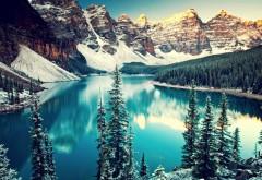 Широкоформатные обои HD горы и озеро