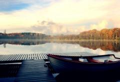 Река, лодка, вода, утро, заставки hd высокого разрешения