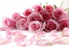 Красивый свадебный букет розовых роз с лепестками обо�…