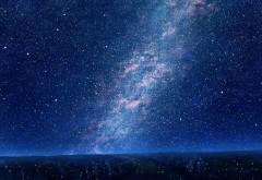Звезды, голубое небо, ночные деревья, фантазия, картинк…