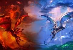 Огненный дракон, ледяной дракон, бой, огонь, вода, драконы, картинки, заставки