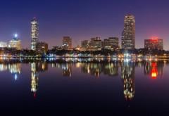 Бостонский горизонт город ночью широкоформатные заст�…