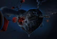 Планета, воображение, сердце, синий, красный, картинки, заставки