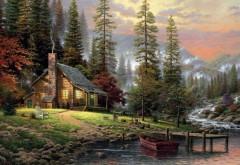 Томас Кинкейд, тихий лесной дом, собака пейзаж, река, ка…
