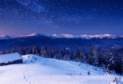 Дома, горы, деревья, снег, ночные звезды, зима, пейзаж, фоны, заставки