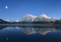 Горы, леса, озера, луна, ночь, пейзаж отражение картинки…