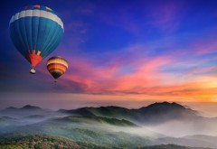 Горы, воздушные шары, лес, туман, утро, рассвет, фоны, за�…