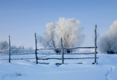 Зима, снег, зимний пейзаж, снежный забор, заставки, фоны