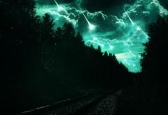 Звездопад, природа, зеленая ночь, лес, абстрактные, пей�…