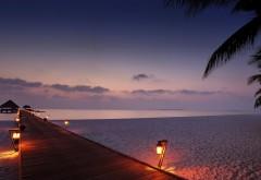 Небо, облака, море, вечерние песчаный пляж, пейзаж, живо…