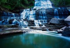 Красивый водопад, река, вода, камни, обои на рабочий стол