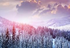 Пейзаж, зима, снег, деревья, горы, лес, небо, облака, фоны, заставки