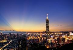 Картинка большого мегаполиса с небоскребом