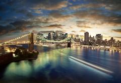 Широкоформатные обои с ночным городом который освещают тысячи фонарей