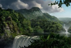 Обои высокого разрешения водопада в горах