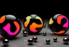 Широкоформатный рисунок больших и маленьких шаров