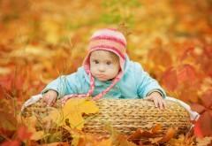 Маленький ребенок с напучеными щеками осенью на приро�…