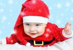 Милый, маленький, мальчик, Санта, малыш, ребенок, картин…