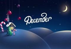 Декабрь, Рождество, пряничный домик, луна, зима, снег, м�…