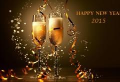 Счастливого Нового года 2015 бокалы с шампанским обои на рабочий стол
