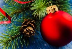 Праздники, Рождество, шары, шишка, широкоформатные обо�…