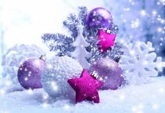 Праздники, Новогодние шары, снежинки, широкоформатные …