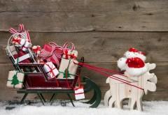 Праздники, Рождество, Олени, Подарки, снег, Новый год, о�…