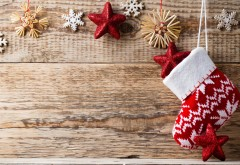Праздники, Рождество, снежинки, носок для подарков, Новый год, обои hd, картинки