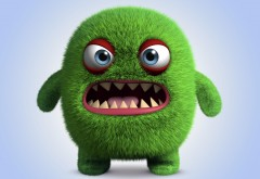 Зеленый зубастик, Корпорация монстров, мультик, мультяшка, 3d графика, обои HD, смешные, юмор, прикольный
