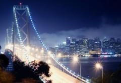 Ночной город, Сан - Франциско, Ночь, Калифорния, Яркий мост