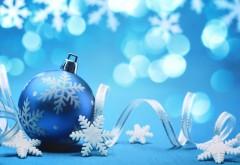 Рождественские праздники, снежинки, шары, украшение, HD обои, заставки, Новый год, праздник