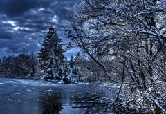 Зима, Новый год, природа, снег, лед на озере, лес, мороз, �…