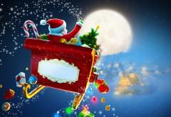 Праздники, Рождественские Подарки, Дед Мороз, Луна, картинки, Новый год, заставки