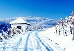 Домик в горах зимой обои для рабочего стола