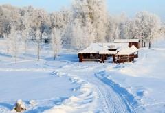 Русская зима, снег, снежный лес, усадьба, домик, хата, картинки, обои