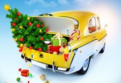 3d, Рождество, елка, подарки, Новый год, машина, праздник, картинки для рабочего стола