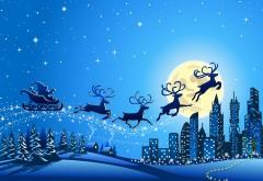 Счастливого Рождества, Новый год, дед мороз, луна, сант�…
