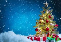 Праздники, Рождественские подарки, Новогодняя елка, снежки, снег, звезды, открытка, обои