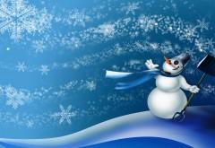 Скачать обои, сугробы, снежинки, лопата, снеговик, вете�…