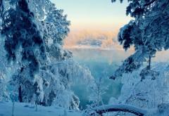 Природа, Озера, деревья, лес, Солнечный свет, Восход, Отражение воды, зима, снег, фото, обои