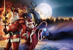 Санта-Клаус, персонажи, олени, полная луна, огонь HD, чяр�…