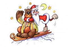 Медведь, Дед Мороз, открытки, звезды, луна, сани, праздн�…